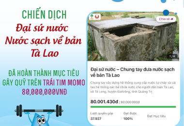 TCBC: Gây quỹ thành công 80.000.000 đồng xây dựng hệ thống cung cấp nước sạch cho bản Tà Lao – Quảng Trị thông qua Ví MoMo