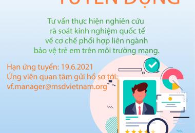 MSD tuyển Tư vấn thực hiện nghiên cứu rà soát kinh nghiệm quốc tế  về cơ chế phối hợp liên ngành bảo vệ trẻ em trên môi trường mạng